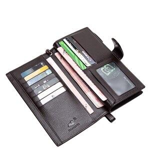 Image 5 - Мужской Длинный кошелек BISON DENIM, кошелек из воловьей кожи с карманами на молнии, качественный клатч из натуральной кожи, N8206