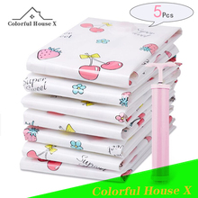 Vacuum Compression Bag For Clothes Large Capacity Household Thickened Storage Bag Girl Cherry Series Quilt Clothing Sack Handbag