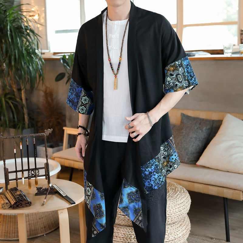 Kimono giapponese cardigan degli uomini yukata haori maschio samurai costume abbigliamento kimono giacca mens camicia kimono yukata haori KK001