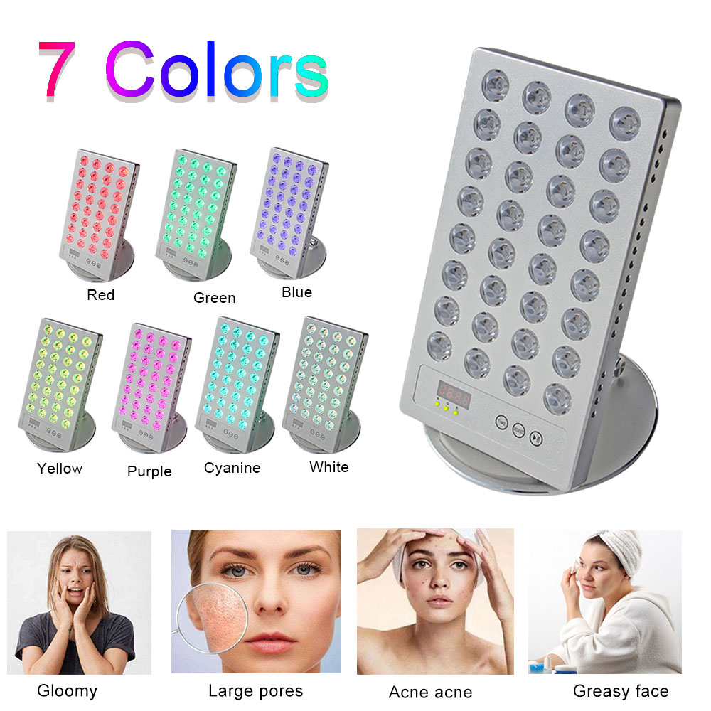 Light Therapy Lamp Mini 660nm 850nm Desktop LED Red Light Therapy With Timer 7 Colors Control For Skin Health Care