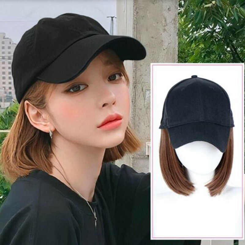 Baseball Cap with Wigs Pixie Cut Bob Hair Synthetic Short Hair Hat for Women  EY669