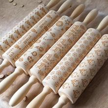 Рождественская Скалка Лазерная Деревянная Рождественская скалка для тиснения скалка для теста палочка для выпечки кондитерский инструмент Новогоднее Рождественское украшение