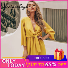 Beigerfayl New Bow Office Yellow Dress Sexy Party Night Club 2019 Red Women Solid Black A Line V Neck Autumn Cotton Dresses Y229