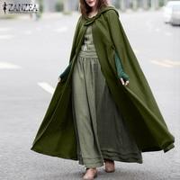 ZANZEA donna elegante mantello lungo mantello con cappuccio misto lana mantello cappotto autunno felpe con cappuccio Poncho giacche Cosplay calde capispalla giacca a vento