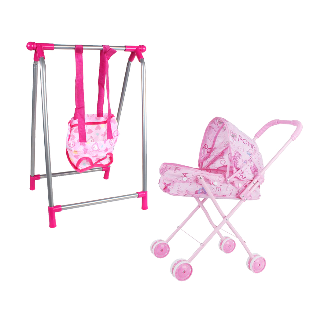 Nursery Room Furniture Decor - ABS Baby Doll Infant Stroller Swing Kit For 9-12inch Reborn Doll For Mellchan Doll Accessories