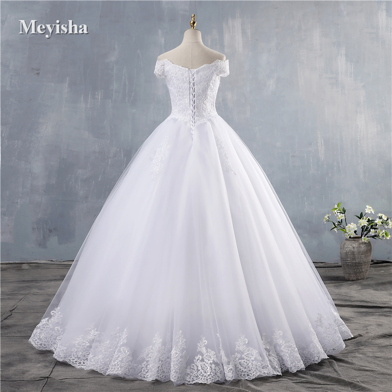 ZJ9143 2019 2020 new White Ivory Elegant Off Shoulder Wedding Dresses for brides Bottom Lace sweetheart with lace edge Plus Size