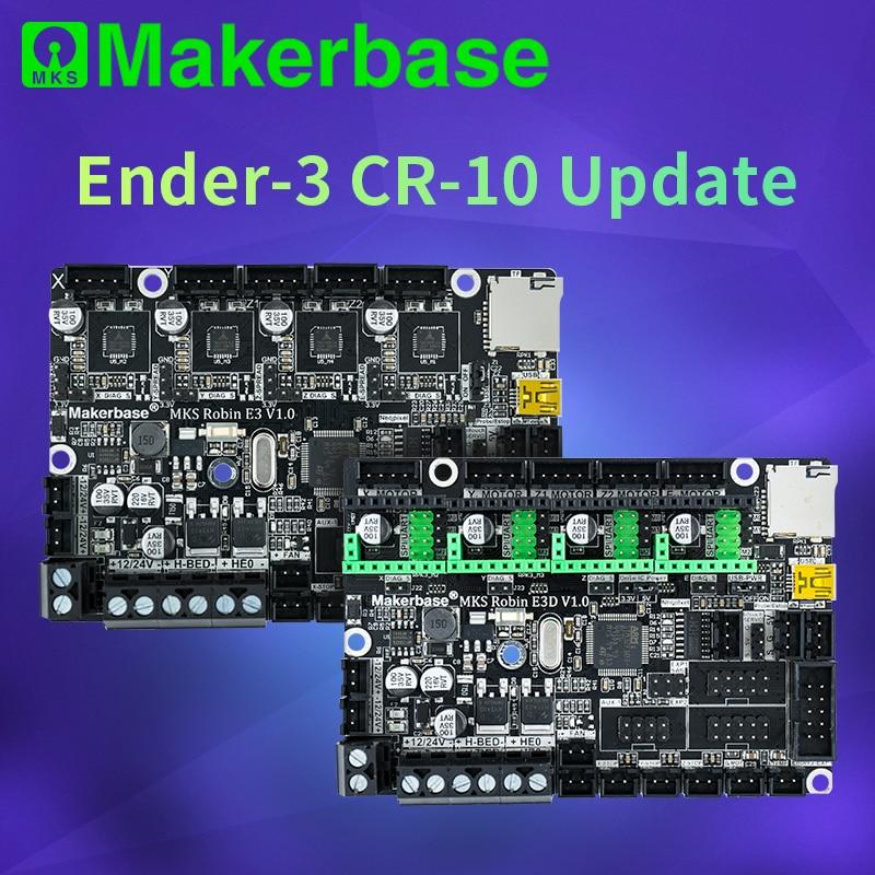 Makerbase mks robin e3 e3d placa de controle, peças da impressora 3d com tmc2209 uart mode driver para creality ender 3 CR-10
