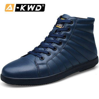 Fashion Black Blue Men Snow Boots Men Winter Boots Winter Sneakers for Men Genuine Leather Men Boots Lace-up High Top Footwear