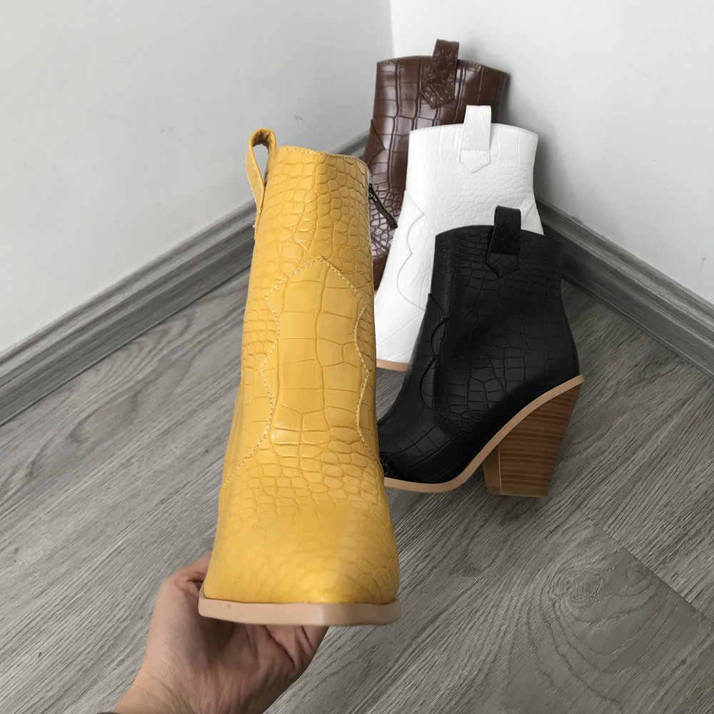 Siyah beyaz kahverengi sarı sonbahar kış yarım çizmeler kadınlar için batı kovboy çizmeler kadın kama yüksek topuk çizmeler sivri burun 2019