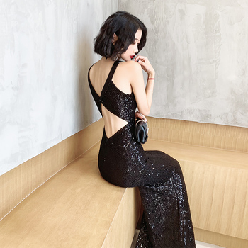 It's Yiiya Evening Dresses For Girls Black Sequined Formal Evening Dresses Sleeveless Halter Mermaid Long Evening Gowns K098 5