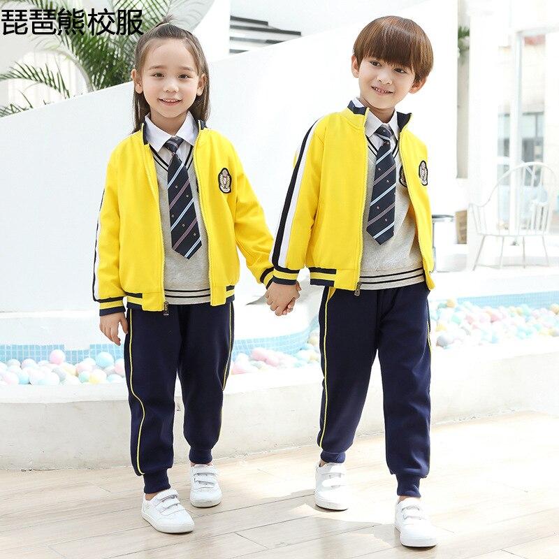 Primary School STUDENT'S School Uniform Set Children Pure Cotton Business Attire Spring Autumn Winter Sports Clothing Kindergart