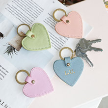 Keychain Women Key-Ring Heart-Shape Custom Initial Saffiano Leather Genuine Free Fashion