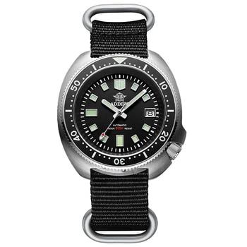 1970 Abalone 200m Diver Watch Sapphire crystal calendar NH35 Automatic Mechanical Steel diving Men's watch - Nylon black logo