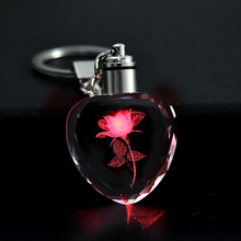 Модная красочная Фея Роза цветок узор любовь форма Кристалл Стразы светодиодный светильник брелок любовник брелок ювелирные изделия