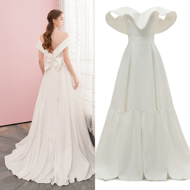Real Photo Simple Bridal Gown Wedding Dress Off Shoulder Soft Satin Plus Size Factory Price