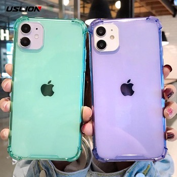 USLION Shockproof Plain Clear Phone Cover For iPhone 11 Pro Max X XR XS Max 6S 7 8 7Plus Soft Silicone Case Transparent Cover image