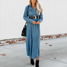 Women Causal Lapel Denim Coat Long Sleeve Buttons Jacket streetwear cool casual solid color retro Outwear ladies long jean coats(China)