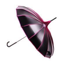 Длинная ручка пагода виниловый зонтик хипстер Солнцезащитный УФ-Защитный зонтик креативный женский черный зонтик