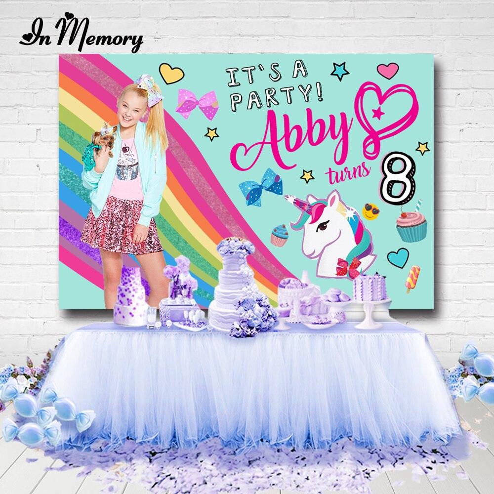 InMemory Rainbow Unicorn Jojo Siwa Theme Photography Backgrounds For Photo Studio Bow Cupcake Girls Birthday Party Backdrops