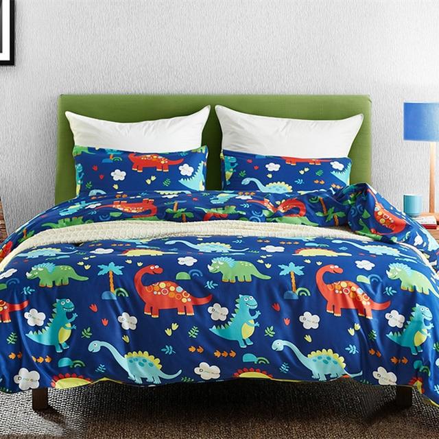 쿨 블루 공룡 2/3pcs 이불 커버 침구 세트 어린이 베개 케이스 침대 시트 침대 커버 귀여운 만화 패턴 3 크기