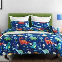 Koele Blauwe Dinosaurus 2/3 Stuks Dekbedovertrek Beddengoed Sets Voor Kids Kind Kussensloop Laken Bed Cover leuke Cartoon Patroon 3 Maten