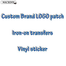 Nicediy Custom LOGO Brand Patches Heat Transfer Vinyl Sticker Iron On Transfers For Clothes Stripe ironing stickers Aqqlique DIY(China)