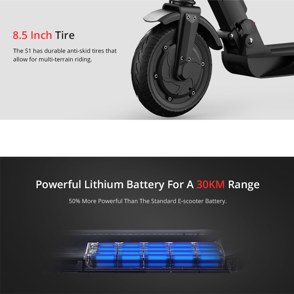 Europe Stock KUGOO S1 Folding Electric Scooter 350W 30KM H 30KM Motor LCD Display Screen 8 5 Inches Tire Adult Scooter in Electric Scooters from Sports Entertainment