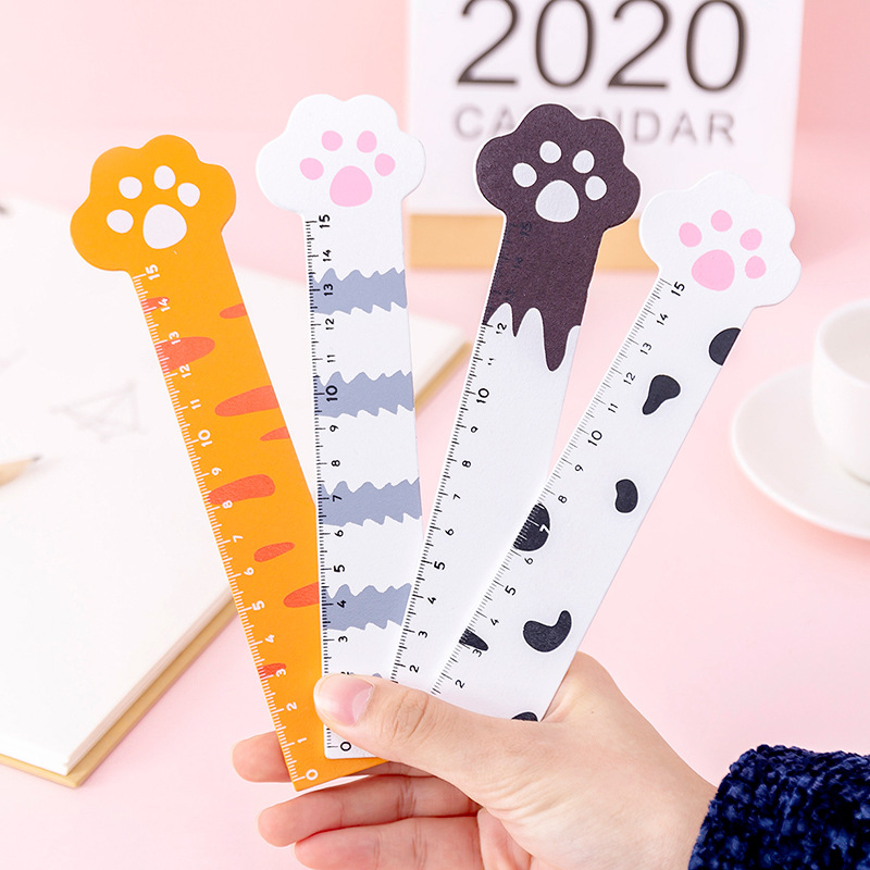 40pcs Kawaii Cat Claw Ruler 15cm Wooden Ruler Metric Rule Measuring Tool Cute Creative Learning Office Stationery Drafting Tools