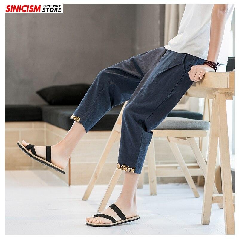 Sinicism Store Men Print Summer Loose Harem Pants Mens 2020 Cotton Linen Trousers Male Oversize Chinese Style Calf -Length Pants