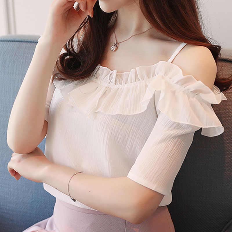 Haut pour femme et Blouse 2021 dames hauts Sexy Slash cou femmes vêtements court en mousseline de soie chemise blanche Blouse chemise femmes D825 30