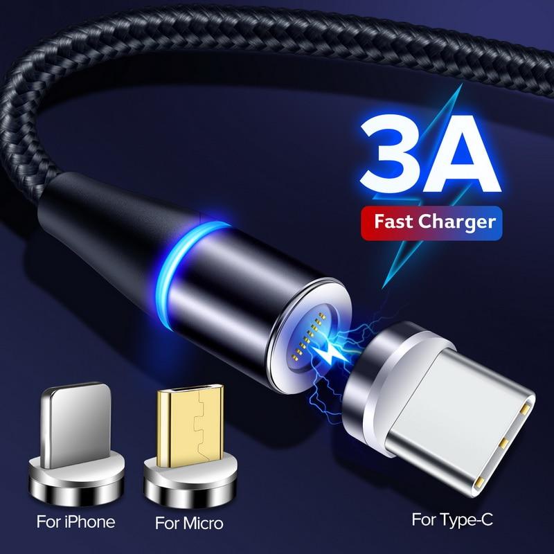 INIU Магнитный кабель 3A Micro USB C Быстрая зарядка 3,0 Быстрая зарядка Магнит USB Type C мобильный телефон зарядное устройство для iPhone 11 X Samsung|Кабели для мобильных телефонов|   | АлиЭкспресс