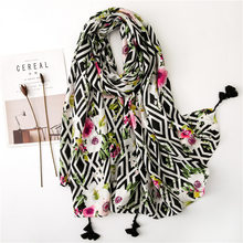 Scarf Women Spring And Autumn New Pattern Color Printed Long Air Shawl Summer Beach Sunscreen Hijabs Thin Cotton Linen Fashion