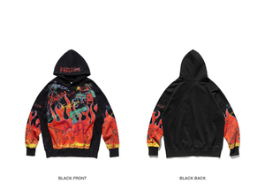 Image 4 - Cooo Coll Men women Hoodies freedom hip hop loose justin bieber printing flame Graffiti skateboard black sweatshirt tops hoody