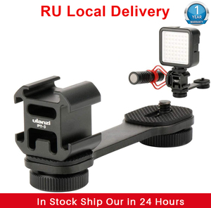 Image 1 - Ulanzi PT 3 Gimbal Accessories Triple Cold Shoe Mounts Plate Microphone Led Video Light Extension Bracket Microphone Stand