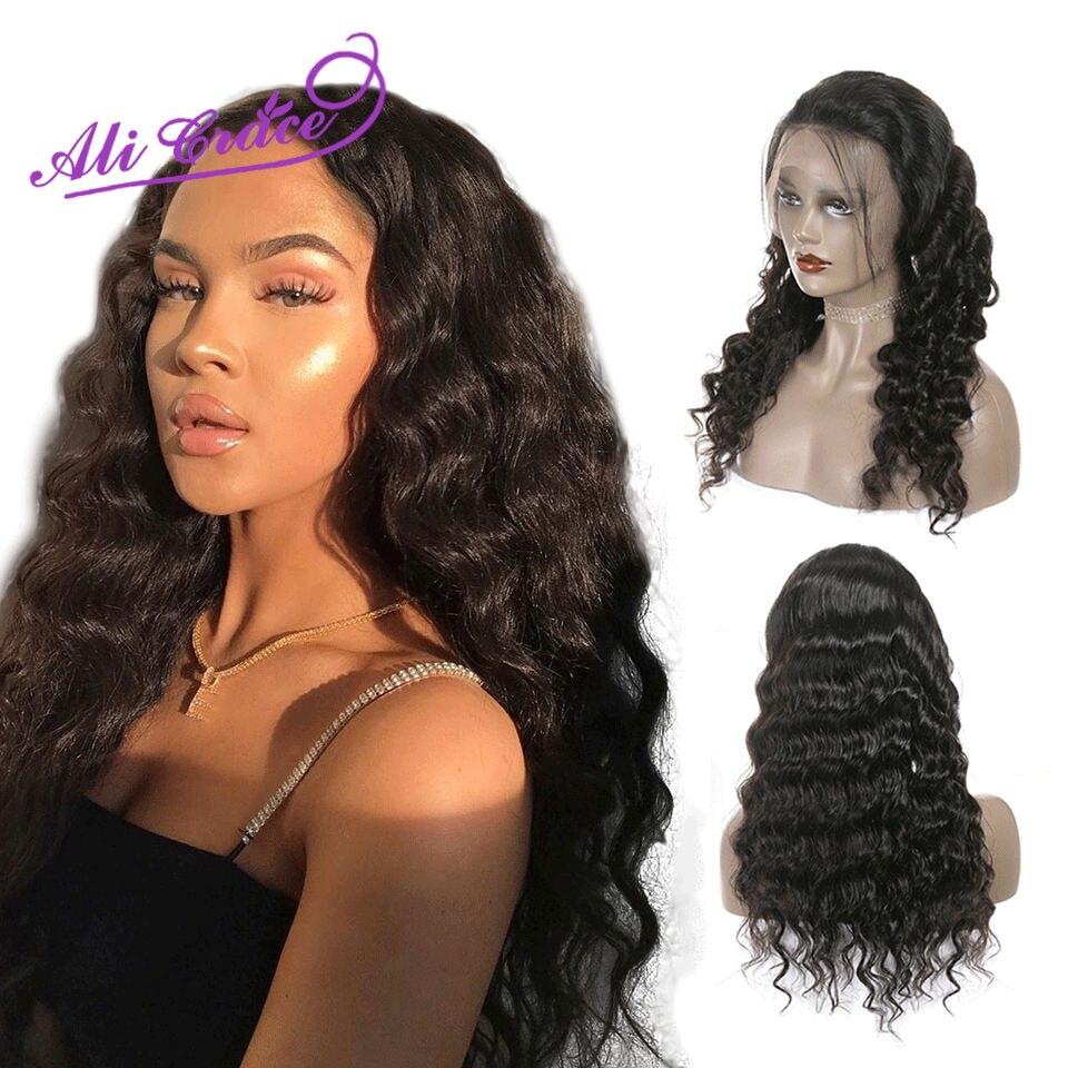 Ali graça cabelo 13*4 perucas frontais peruanas do laço onda solta 13*6 perucas frontais do laço 360 perucas frontais do laço pré-arrancadas cabelo de remy