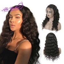 Ali Grace Hair-pelucas frontales de encaje 13x4, pelo Remy prearrancado, ondulado suelto peruano, 13x6, 360