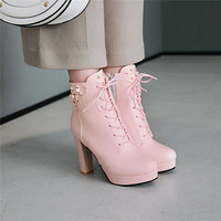 Sweet Pink White Rhinestone Flower Lolita Girl Lace Up High Heel Party Shoes Autumn Platform Cross Tie Rock Combat Boots