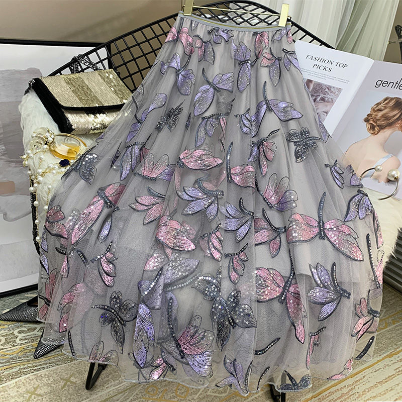 High Quality Sequins Embroidery Dragonfly Two Layer Mesh Pleated Skirt Women 2020 Summer High Waist Long Skirts Womens Elegant