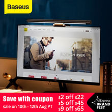 Baseus Led Desk Lamp Adjustable Reading Screen Hanging Light Computer Eye Protection Lamp USB Rechargeable Light for Office Home(China)