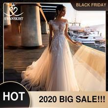 אופנה אפליקציות תחרה שמלת כלה מתוקה אונליין Boho Vestido דה Noiva פרחי משפט רכבת כלה שמלת Swanskirt k307