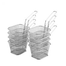 8 sztuk Mini kosze ze stali nierdzewnej Fry Chips prezentacja sitko kosz na jedzenie kuchnia narzędzie gotowanie frytki kosz