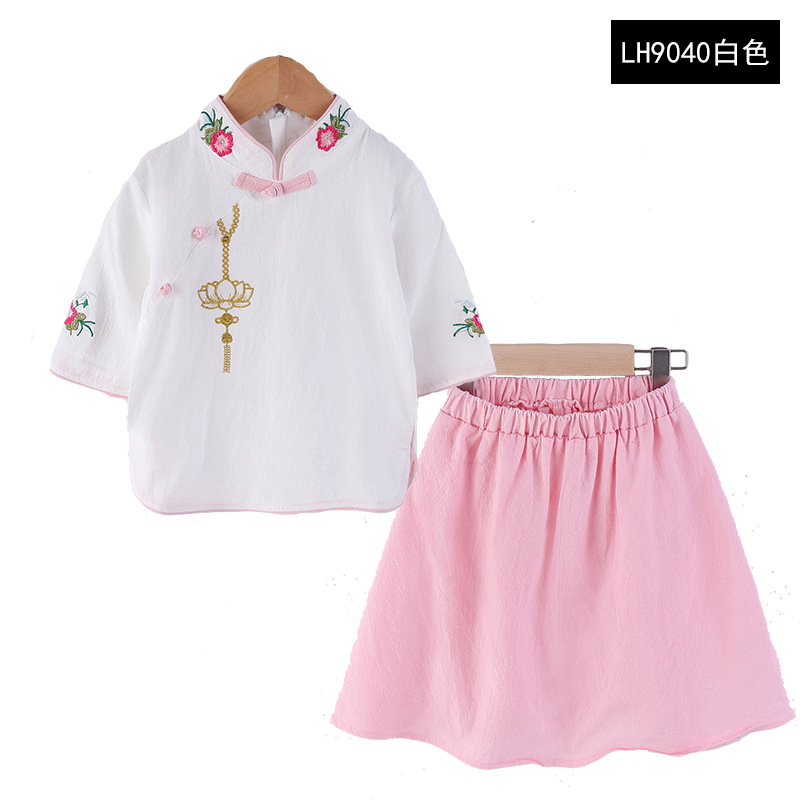 Childrenswear Girls Ethnic-Style Chinese Costume Two-Piece Set Summer 2018 New Style Child Retro Chinese Clothing Tops + Skirt S
