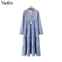 Vadim women fashion boho maxi dress V neck tassel tie long sleeve straight style casual ankle length dresses vestidos QD122