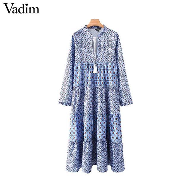 Vadim women fashion boho maxi dress V neck tassel tie long sleeve straight style casual ankle length dresses vestidos QD122