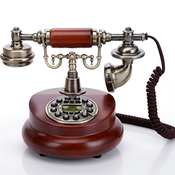 Landline Corded Phone Classic Vintage Desktop Wired Office Telephone Wooden Business Phone Old Fashion Antique Style Home Phone