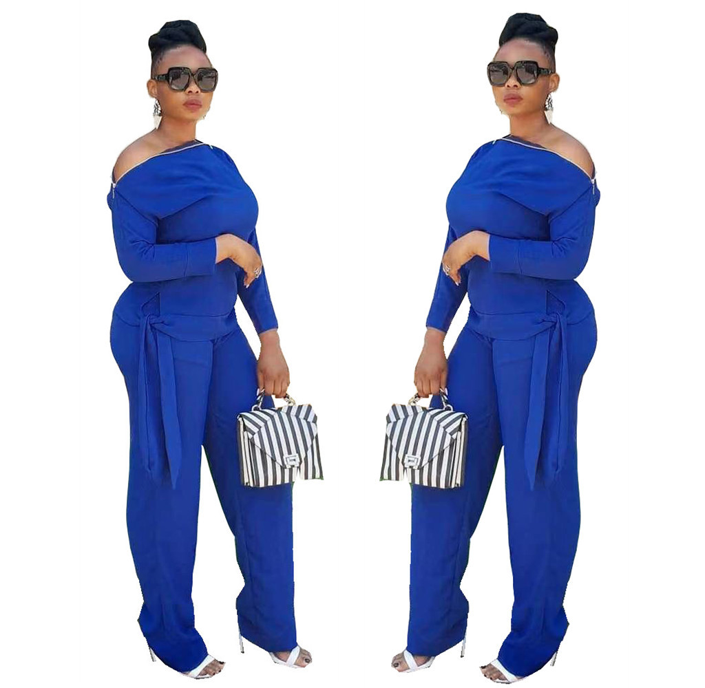 1098! Hot Selling Europe And America WOMEN'S Dress Fashion Casual Solid Color Two-Piece Set