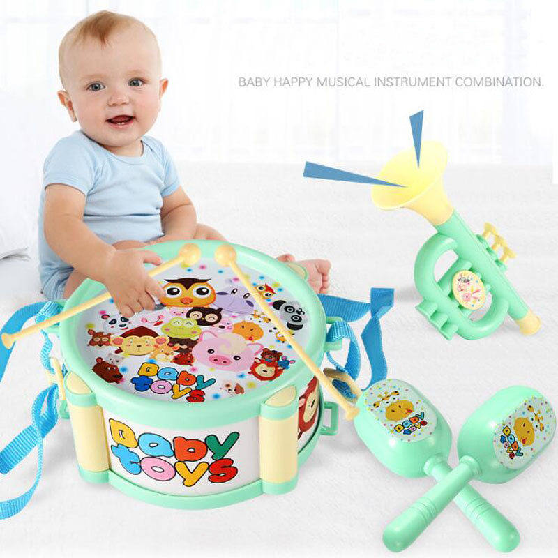 6Pcs/lot New Children's Educational Baby Rattle Knocking Drum Baby Knocking Rattle Toys
