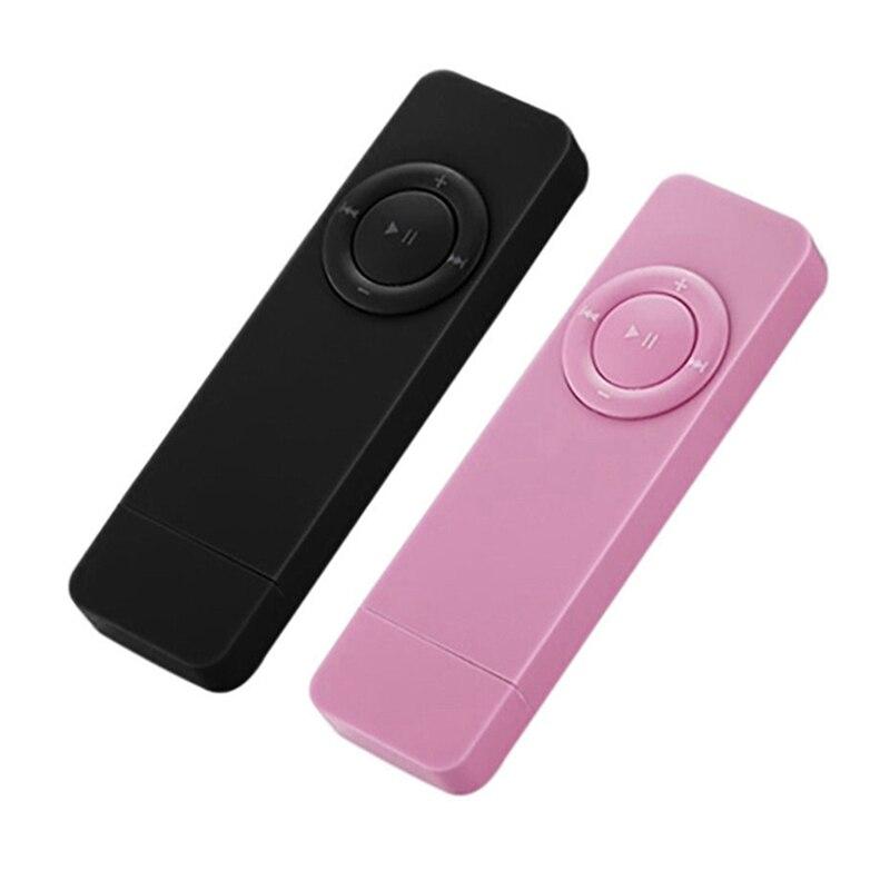 BEST2Pcs Portable USB Sport U Disk Mini Mp3 Music Player Support 32GB TF Card(Black&Pink)