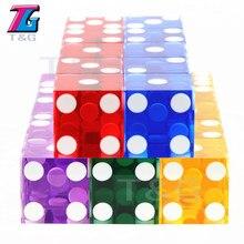 High-grade acrílico transparente dados 19mm seis lados d6 casino afiada cantos retos 5 pces