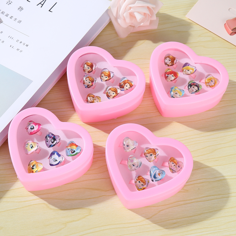 6pcs/set Disney Frozen Anna Elsa Princess Toy Makeup Sofia Belle Snow White Girl Pretend Play Toys Kids Ring Set Disney Jewelry